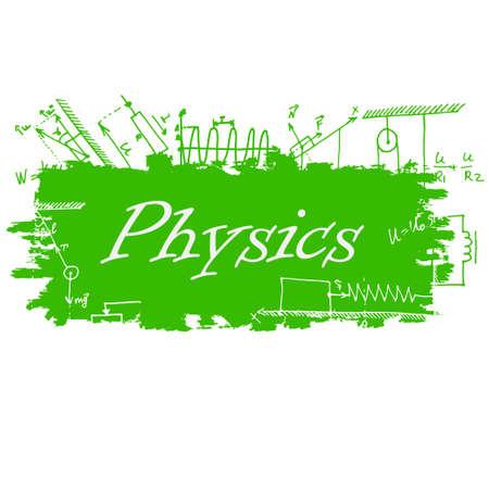 semester: School background of school supplies. Physics design template