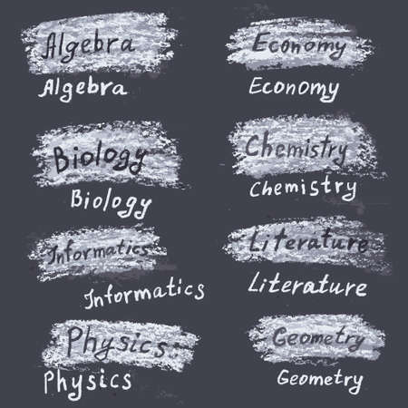 spring balance: Hand drawn names of subjects at the university. Chalk on the blackboard. Vector white inscriptions. Illustration