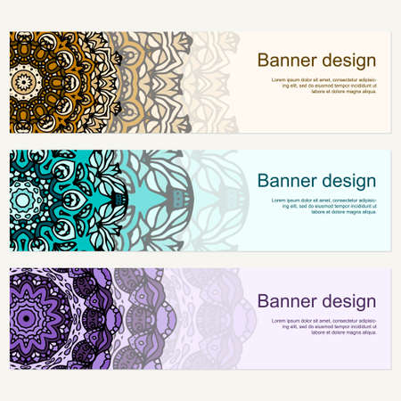 Set of vector banners backgrounds. Abstract mandala templates. Ethnic art theme