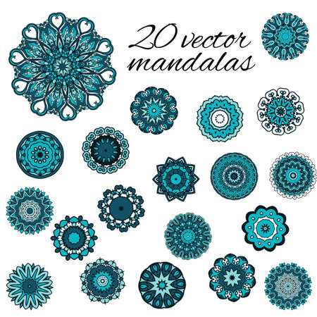Abstract design elements. Set of round mandalas in vector. Graphic template for your design.