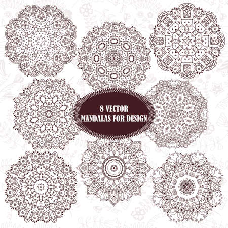 Set of abstract design element. Round mandalas in vector. Graphic template for your design. Decorative retro ornament. Hand drawn background with flowers. Illusztráció