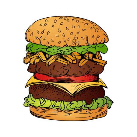 Fast food poster with hamburger. Hand draw retro illustration. Vintage burger design.