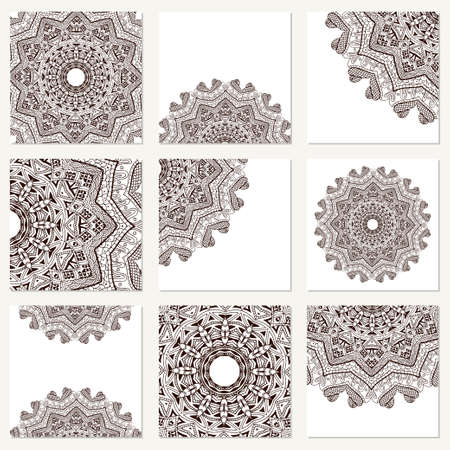 encajes: Vector set with mandala. Background abstract circle ornament. Decorative retro element. Invitation card on wedding, birthday.