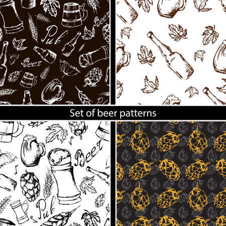 irish pub label: Set of beer seamless pattern on black backgroun. Vector texture in hand draw style