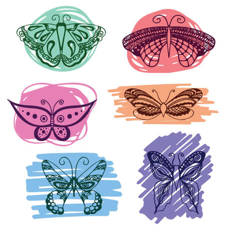 vermin: Set of butterflies silhouettes in hand-drawn style for tattoo design. Vector decorative doodle objects.
