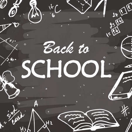 semester: Back to school typographical background. Freehand drawing icon elements on chalkboard. Sketch vector illustration. Illustration