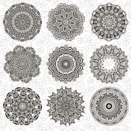 decorative element: Set of abstract design element. Round mandalas in vector. Graphic template for your design. Decorative retro ornament. Hand drawn background with flowers. Illustration