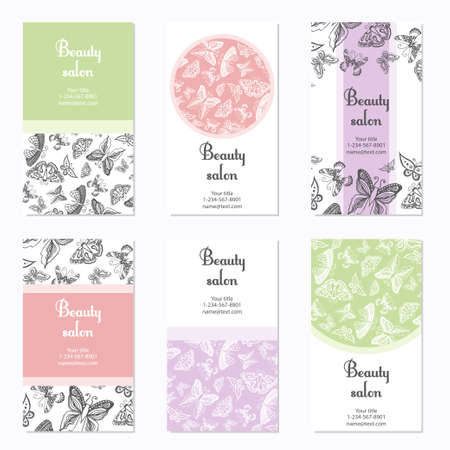 Set of beauty salon business cards with butterfly. Card template can be used for spa center, yoga or fitness class, cosmetic concept. Vector illustration