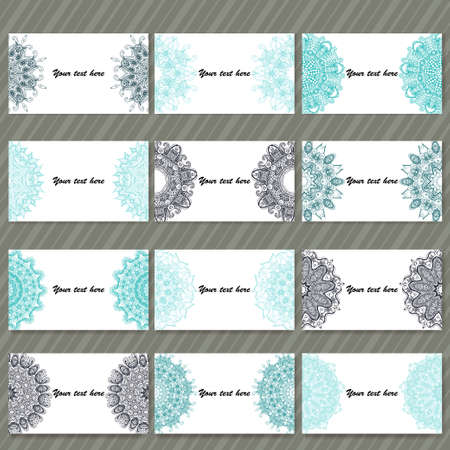 birthday: Set of  business cards. Vintage pattern in retro style with ornament Illustration