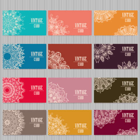 indian yoga: Vector template business card.  Geometric background. Card or invitation collection.  Islam, Arabic, Indian, ottoman motifs. Illustration