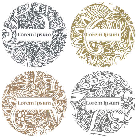 Doodle circle design. Abstract lace ornament. Vector illustration with arabic motifs for card, invitation, scrap booking.