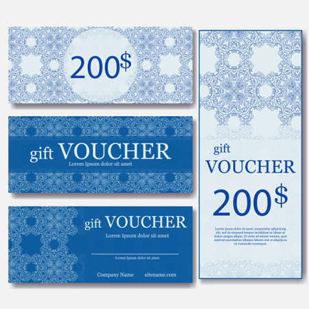 elegant christmas: Gift voucher template with mandala. Design certificate for sport or yoga center, magazine or etc. Vector gift coupon with ornament on background. Illustration