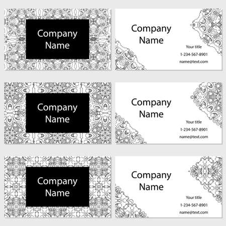 call card: Set of  business cards. Vintage pattern in retro style with ornament Illustration