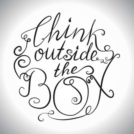 outside the box: Decorative card with hand-drawn lettering. Think outside the box. Creative motivation quote. Typographic design poster in vector. Illustration