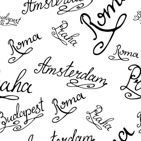majorca: Travel seamless pattern. Background with city capitals. Hand drawing typography. Vector illustration