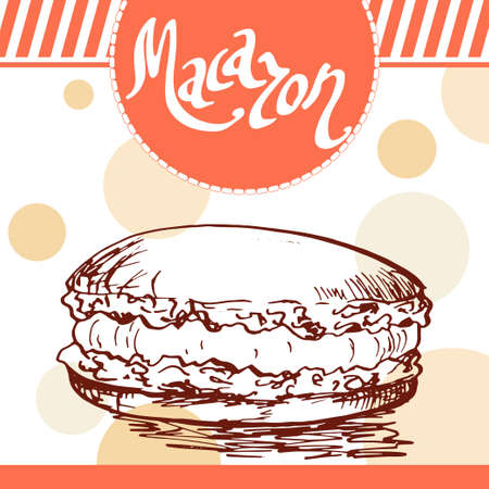 macaron: Vector poster with hand-drawn macaron. French delicious food. Decorative background with typography element. Beautiful card Illustration