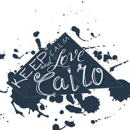 cairo: Vector illustration with phrase Keep calm and love Cairo.  Poster design art with creative slogan. Retro greeting card in sketch style. Illustration