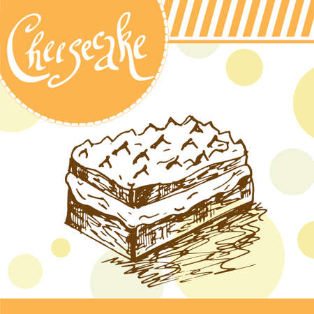 cheesecake: Cheesecake illustration. Bakery design. card with decorative typography element. Cheesecake icon for poster