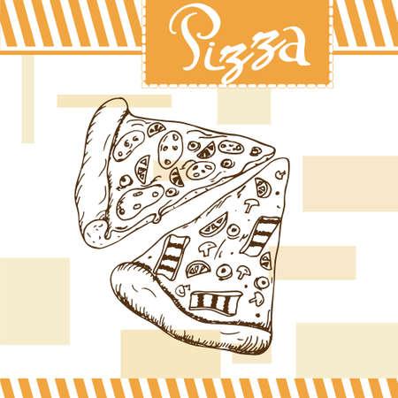 comida rapida: ilustración vectorial de pizza. diseño de la comida rápida. Hermosa tarjeta con la tipografía elemento decorativo. icono de la pizza por un cartel Vectores