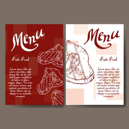 Cafe-Menü Mit Hand Gezeichnet Design. Fastfood-Restaurant-Menü ...