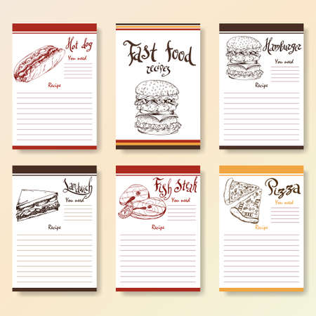 blanks: Recipe blanks collection. Fast food objects with hand dawn lettering. Vector food illustration