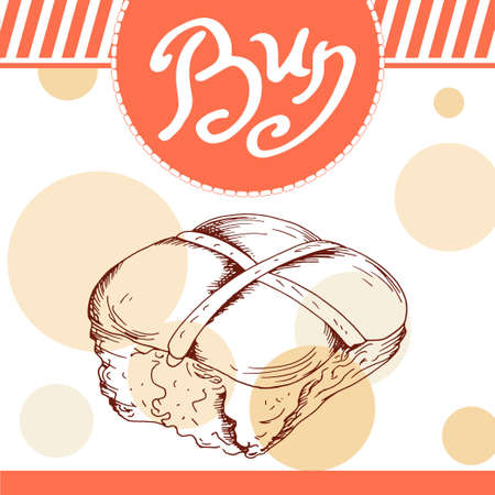 bun: Bun vector illustration. Bakery design. Beautiful card with decorative typography element. Bun icon for poster