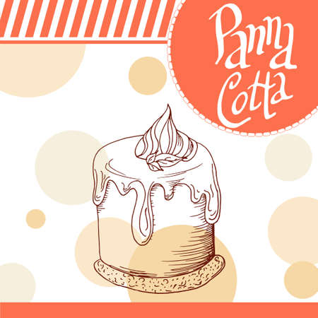 panna cotta: Vector poster with hand-drawn panna cotta. Delicious food. Decorative background with typography element. Beautiful card