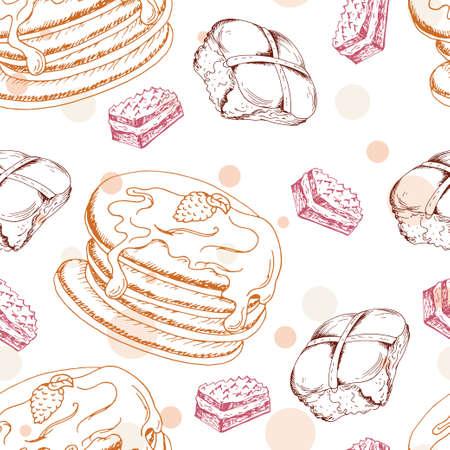 menu de postres: Modelo inconsútil con los postres. Dibujado a mano tortitas y bollos. ilustración vectorial para su diseño. Vectores