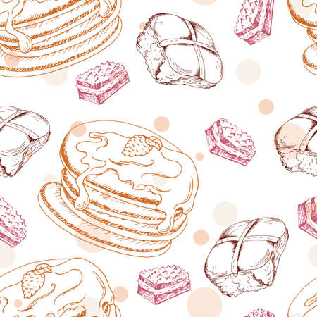 dessert: Seamless pattern with desserts. Hand drawn pancakes and buns. Vector illustration for your design.