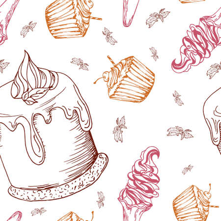 panna cotta: Seamless pattern with desserts. Hand drawn panna cotta, muffin, ice cream. Vector illustration for your design.