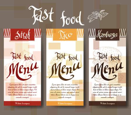speisekarte: Cafe-Menü mit Hand gezeichnet Design. Fastfood-Restaurant-Menü-Vorlage. Set Karten für Corporate Identity. Vektor-Illustration