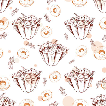 tart: Dessert seamless pattern. Sweet background in hand drawn style. Wallpaper with tart, donut. Vector illustration for cafe menu, banner, recipe and etc.