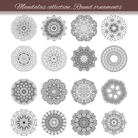 mandala: Set of abstract design element. Round mandalas in vector. Graphic template for your design. Decorative retro ornament. Hand drawn background with flowers. Illustration