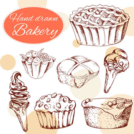 chocolate dessert: Vector desserts elements in hand drawn style. Delicious food. Art illustration.  Sweet pastry for your design in cafe menu, posters, brochures