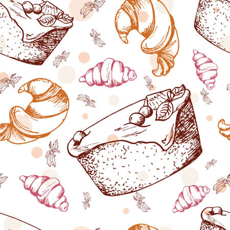 brownie: Seamless pattern with desserts. Hand drawn brownie, croissant, pastry. Vector illustration for your design.