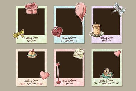 Design wedding frame. Decorative photo frames for valentine's day. Vecotr illustration