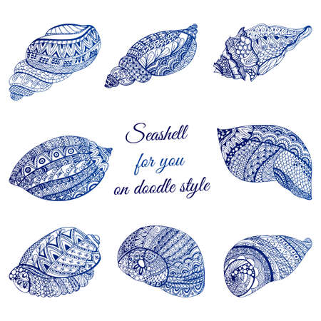 Set of hand drawn seashell with ethnic motif. Abstract zentangle stylized cockleshells. Ocean life doodle collection. Vector illustration