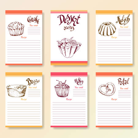 blanks: Recipe blanks collection. Dessert objects with hand dawn lettering. Vector food illustration