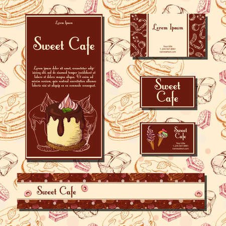 be the identity: Template with hand drawn sketch bakery. Dessert cards with sweet bakery. Can be used identity style for cafe or restaurant.  Vector illustration
