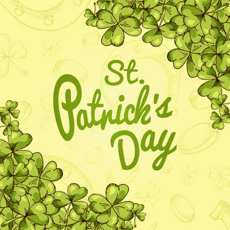 banner for St. Patricks Day. Illustration with hand drawn sketch. Illustration