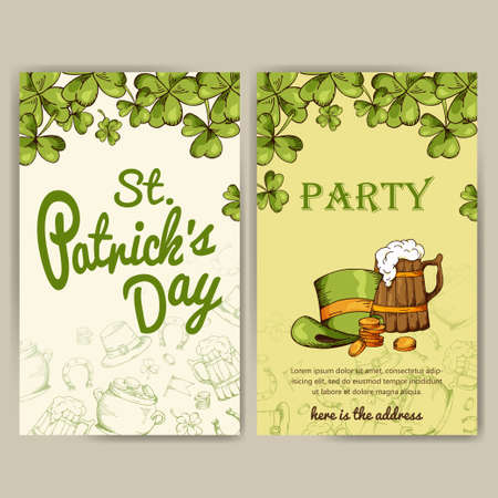 shamrock: set of banners for St. Patricks Day. Illustration with hand drawn sketch. Illustration