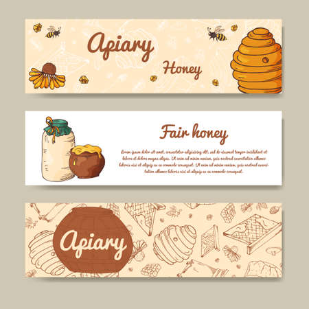 honeyed: Set of banners for fair honey. Natural healthy food.