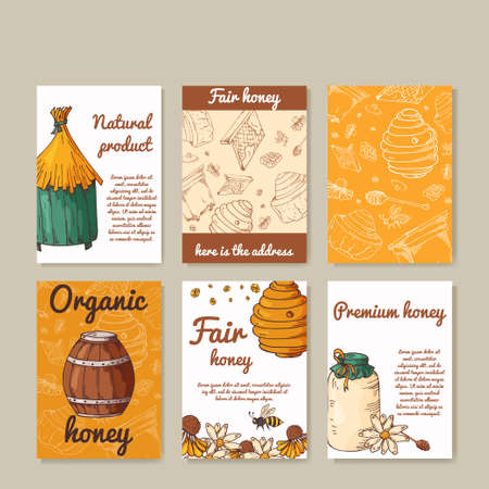 food production: Vector card with honey elements. Template for menu, poster, card. Background with helthy food production.