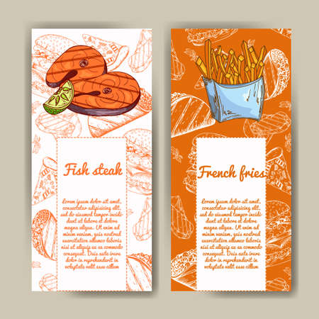 Cafe menu with hand drawn design. Fast food restaurant menu template. Set of cards for corporate identity. Vector illustration