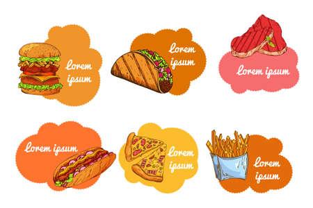 conjunto de comida rápida. Dé la ilustración sorteo. diseño de la hamburguesa de la vendimia. Los elementos de comida americana de colores