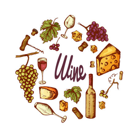 ferment: Vector wine elements. Hand drawn vector icons