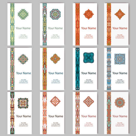 Vector template business card.  Geometric background. Card or invitation collection.  Islam, Arabic, Indian, ottoman motifs. Illustration