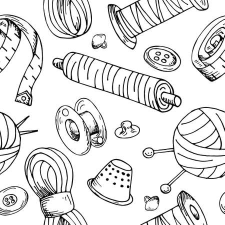 Seamless pattern with sewing tools. Vector hand drawn tailor equipments. Design background illustration