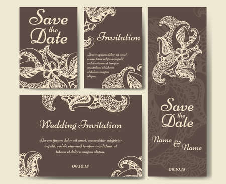 the spouse: Card vector template for wedding. Set of invitations for   thank you card, save the date card, mother day. Illustration