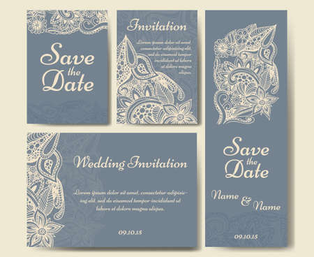 the spouse: Set of wedding invitations. Wedding cards template with individual concept. Design for invitation, thank you card, save the date card.